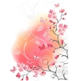 cherry blossom tree white background vector image vector image