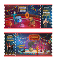 circus magic show tickets cartoon tickets vector image vector image