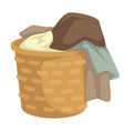 clothes and linen laundry in wicker basket vector image