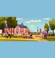 college university building campus students walk vector image vector image