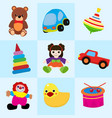 colorful toys in cartoon style for kids seamless vector image vector image