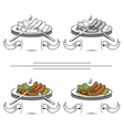 cooked sausages on the grill vector image vector image