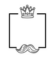 crown and moustache frame black and white vector image vector image