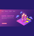 data center landing page information database vector image vector image