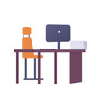 empty workplace with metal chair laptop vector image vector image