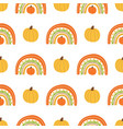 fall rainbow with pumpkin pattern cute autumn vector image vector image
