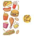 fast food hand drawn menu design with burger vector image vector image