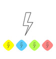 grey lightning bolt line icon isolated on white vector image vector image