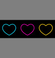 heart icon isolated on black background set of vector image