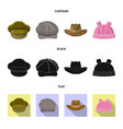 isolated object of headgear and cap sign vector image vector image