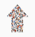 large group people in an arrow vector image vector image