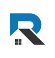 letter r abstract home logo icon vector image vector image