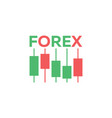 logo candlestick trading chart analyzing in forex vector image vector image