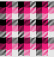 lumberjack plaid pattern in pink white and black vector image