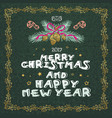 merry christmas and happy new year words on green vector image vector image