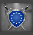 monochrome version european union flag the shield vector image vector image