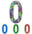 Mosaic font design set - number 0 vector image vector image