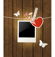 photo and red heart for Valentines day vector image vector image