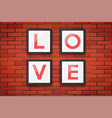 red brick wall with picture frames vector image vector image