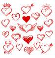 red sketch heart set vector image vector image