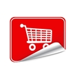 Red sticker trolley vector image vector image