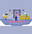 relaxing at workplace flat banner template vector image vector image