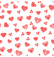 Seamless pattern with various red and white hearts vector image vector image