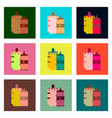 set pixel icons of french hot dog and ketchup vector image