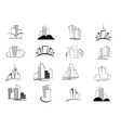 set stylized outline building icons vector image vector image