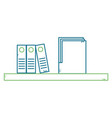 shelf with folder and organizer books vector image