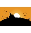 Silhouette of castle and bat halloween vector image