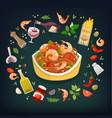 spaghetti marinara vector image vector image