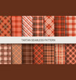 tartan seamless patterns in brown and red colors vector image vector image