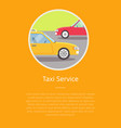 taxi service sign and text isolated on yellow vector image vector image