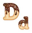 tempting typography font design 3d donut letter d vector image vector image