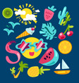 tropical summer stickers vector image vector image