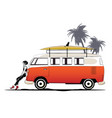 two stylish girls and green bus on the beach vector image