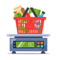 weigh products from store on scales food vector image vector image