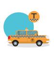 yellow taxi car - icon vector image