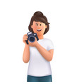 young woman jane holding camera taking photo vector image