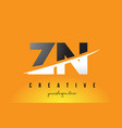 zn z n letter modern logo design with yellow vector image vector image