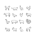 Farm animals thin line icons set Outline vector image