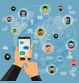 social media network application flat design for vector image