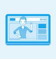 videoblogger on a screen vector image