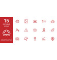 15 construction icons vector image vector image