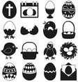 16 black and white easter elements set vector image vector image