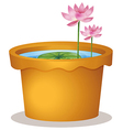 A pot with a waterlily and lotus flowers vector image vector image