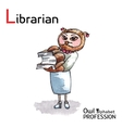 Alphabet professions Owl Letter L - Librarian vector image vector image