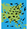 Animals on the map of Asia vector image