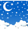background moon and stars sky clouds moon vector image